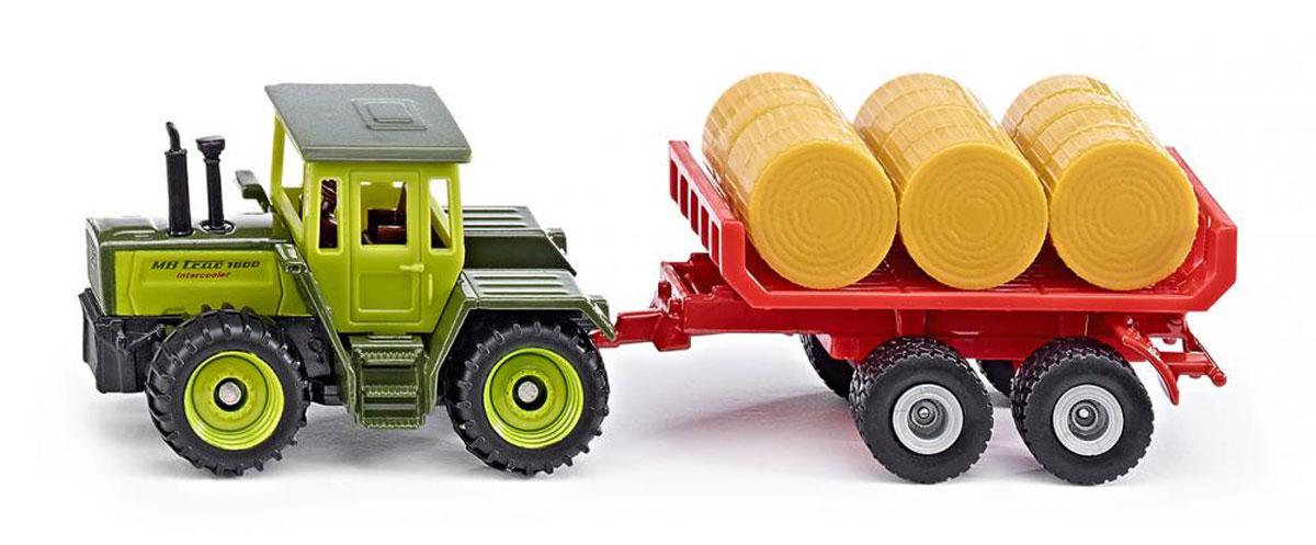 Siku Трактор MB Trac 1800 Intercooler c прицепом для кип1670Трактор Siku MB Trac 1800 Intercoole выполнен в виде точной копии трактора с прицепом для перевозки кип. Такая модель понравится не только ребенку, но и взрослому коллекционеру, и приятно удивит вас высочайшим качеством исполнения. Изделия выполнены из металла с элементами из пластика. Колеса трактора и прицепа имеют свободный ход. Трактор оборудован сцепным устройством. В комплект также входят кипы. Коллекционная модель станет не только интересной игрушкой для ребенка, интересующегося агротехникой, но и займет достойное место в коллекции.