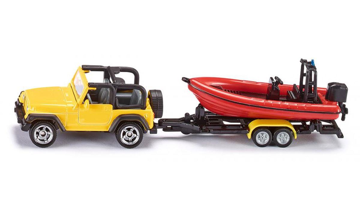 Siku Внедорожник Jeep Wrangler с лодкой1658Внедорожник Jeep Wrangler с лодкой Siku выполнен в виде точной копии реального автомобиля с прицепом. Такая модель понравится не только ребенку, но и взрослому коллекционеру и приятно удивит вас высочайшим качеством исполнения. Корпус машины выполнен из металла с пластиковыми элементами. Прорезиненные колеса модели имеют свободный ход. Модель отличается великолепным качеством исполнения и детальной проработкой, она станет не только интересной игрушкой для ребенка, интересующегося различными видами техники, но и займет достойное место в коллекции.