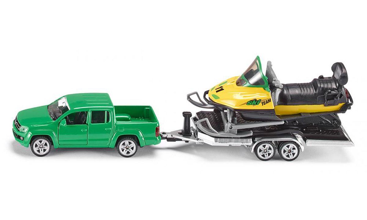 Siku Игровой набор Volkswagen Amarok с прицепом и снегоходом2548Игровой набор Siku Volkswagen Amarok с прицепом и снегоходом представляет собой три модели, выполненные в масштабе 1:55. Такие модели понравятся не только ребенку, но и взрослому коллекционеру, и приятно удивят вас высочайшим качеством исполнения. Корпус моделей выполнен из металла, стекла изготовлены из прочного прозрачного пластика. Прорезиненные колеса машины и прицепа имеют свободный ход. Набор отличаются великолепным качеством исполнения и детальной проработкой, он станет не только интересной игрушкой для ребенка, интересующегося автомобилями, но и займет достойное место в любой коллекции.