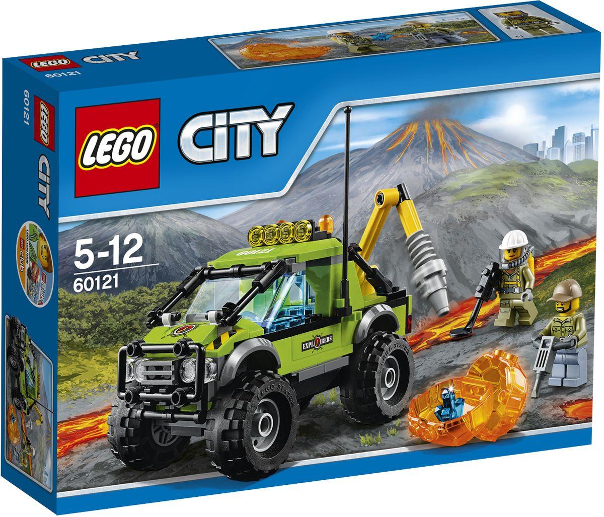 LEGO City Конструктор Грузовик исследователей вулканов 6012160121Садитесь за руль вездехода геологоразведки и отправляйтесь к вулкану! Переместите валун, затем разбейте его с помощью бура. Смотрите - внутри находится кристалл! Поместите его в багажник вездехода и возвращайтесь в лабораторию, чтобы внимательно изучить. Набор включает в себя 175 разноцветных элементов. Конструктор - это один из самых увлекательных и веселых способов времяпрепровождения. Ребенок сможет часами играть с конструктором, придумывая различные ситуации и истории.