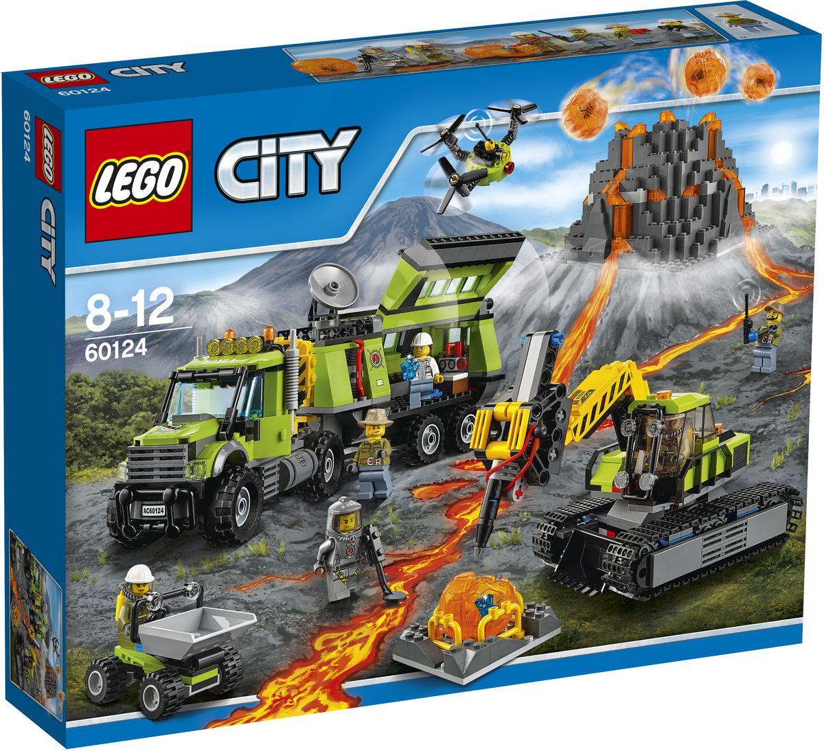LEGO City Конструктор База исследователей вулканов 6012460124Помогите ученым и исследователям получить новую информацию о вулкане! Найдите место для организации Базы исследователей вулканов, где можно разместить все их оборудование. Затем используйте экскаватор и самосвал, чтобы поместить валуны на склад и разбить их, - и найти кристаллы. Отправьте дрон в полет над вулканом, чтобы получить вид с высоты птичьего полета. Новые научные открытия поражают воображение! Набор включает в себя 824 разноцветных пластиковых элемента. Конструктор - это один из самых увлекательных и веселых способов времяпрепровождения. Ребенок сможет часами играть с конструктором, придумывая различные ситуации и истории.