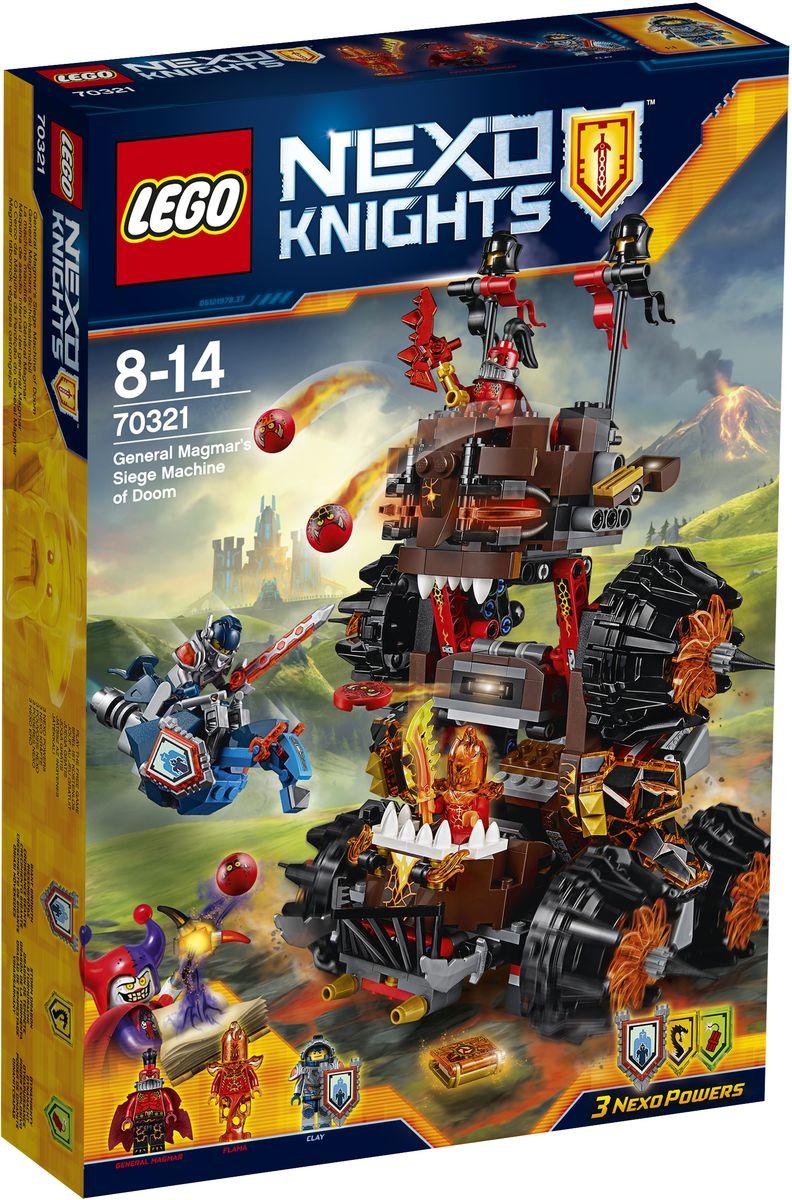 LEGO NEXO KNIGHTS Конструктор Роковое наступление Генерала Магмара 7032170321Генерал Магмар ищет Книгу Разрушений, чтобы помочь Джестро посеять еще больше хаоса в королевстве Найтония. Отправьте Клэя Мурингтона в бой на Парящем коне, чтобы остановить врага, и укрывайтесь от летящих Глоблинов. Атакуйте генерала Магмара и Фламу, но не упустите момент, когда устрашающая машина 2 в 1 поднимется с земли и превратится в чудовищную осадную башню! В набор входят щиты для сканирования, дающие 3 Nexo Силы: Сила великана, Грозовой дракон и Динамит. Набор включает в себя 516 разноцветных элементов. Конструктор - это один из самых увлекательных и веселых способов времяпрепровождения. Ребенок сможет часами играть с конструктором, придумывая различные ситуации и истории.