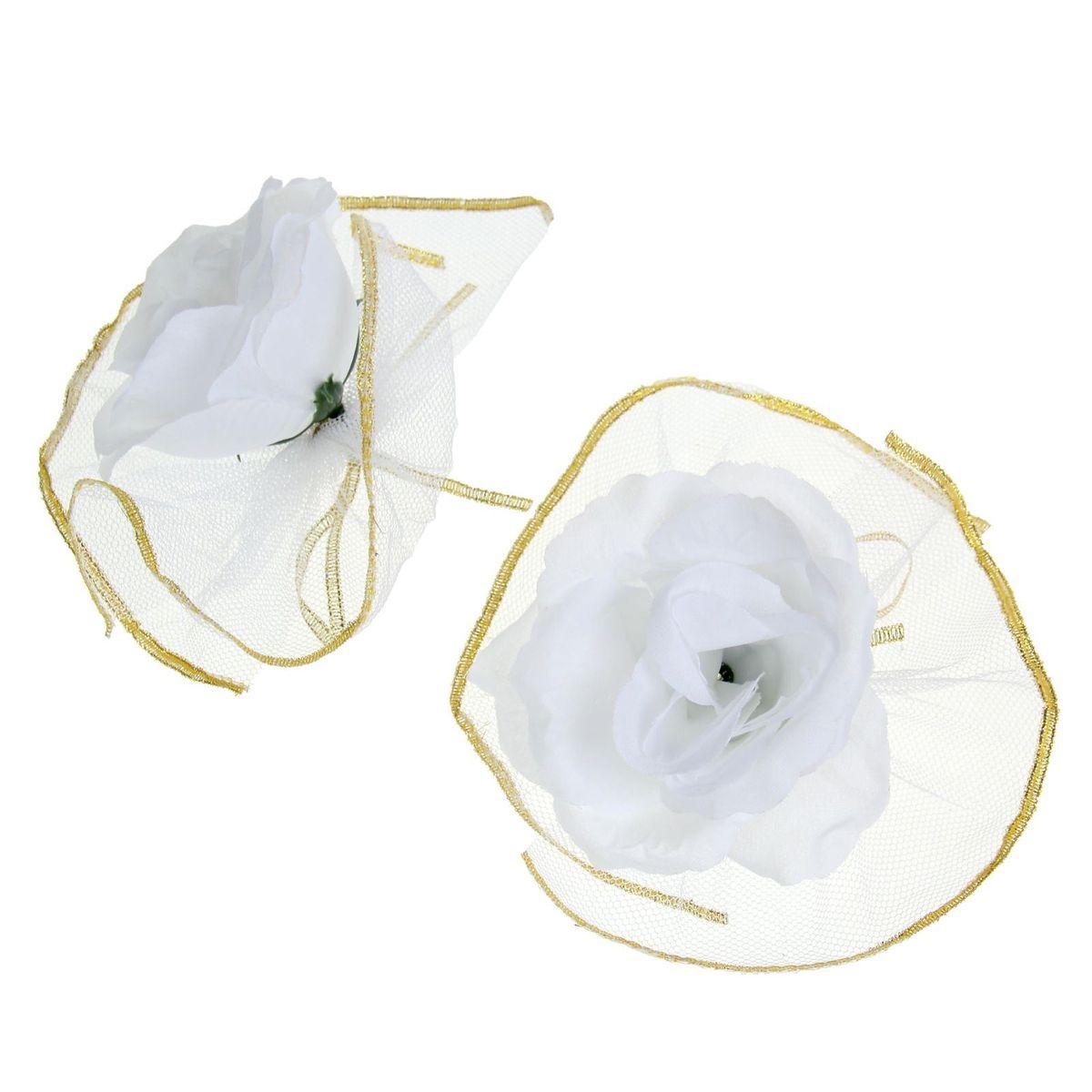 Набор белых роз для украшения свадебного авто Sima-land, 9 x 12 x 3,5 см1116951Чудесный набор для декора свадебного автомобиля состоит из двух цветов на лентах в окружении пышной белой оборки. Украсьте с его помощью ручки машины, зеркала или капот. Также это набор можно использовать для оформления зала и свадебных бокалов, что поможет создать неповторимую атмосферу праздника. Дарите радость себе и близким с красивыми аксессуарами.