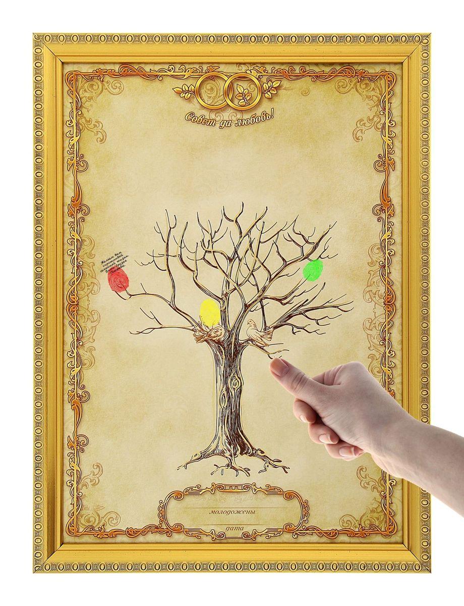 Дерево свадебных пожеланий в рамке Sima-land Совет да любовь, 1,6 x 25,2 x 38 см733637Свадебное дерево пожеланий в рамке Совет да любовь — оригинальный способ собрать самые тёплые пожелания молодожёнам в одном месте! Процесс создания такого дерева захватывает и увлекает, ведь каждый листик — это отпечаток пальца. Во время торжества все гости смогут оставить памятный принт и написать искренние слова. Краски уже есть в комплекте. После они легко смоются с рук гостей. Специальная петля и ножка с обратной стороны позволяют повесить дерево пожеланий на стену, либо поставить его на стол или полку. Сувенир преподносится в подарочной коробочке. Сохраните приятные воспоминания о самом незабываемом дне!