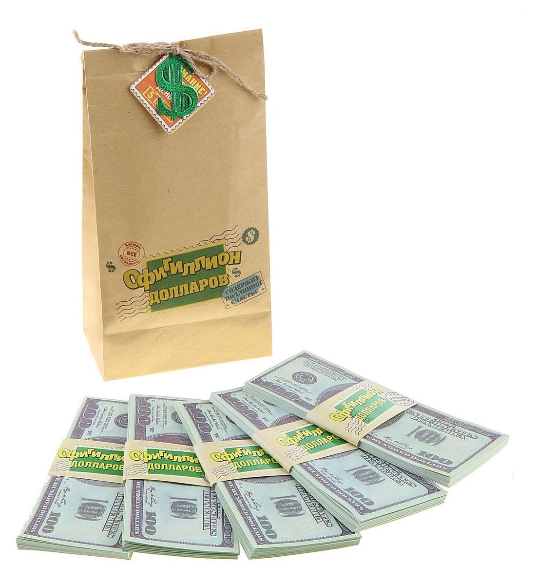 Мешок денег Sima-land Офигиллион Долларов, 4 x 11,5 x 21,4 см761904Хотите весело и щедро выкупить невесту? Легко! Сколько нужно жениху, чтобы родители невесты отдали их бесценное сокровище? Возможно, мешок денег или два. А в каждом – по офигиллиону долларов. Теперь точно хватит! В плотном мешке из бумаги располагается 5 пачек, каждая их которых упакована в бумажную обертку с надписью. Деньги оформлены в виде настоящих стодолларовых купюр. Мешок декорирован бечевкой с эмблемой валюты, которая находится внутри. Теперь дело за малым, осталось лишь послушно выполнять задания подружек невесты и удивлять их своей щедростью!