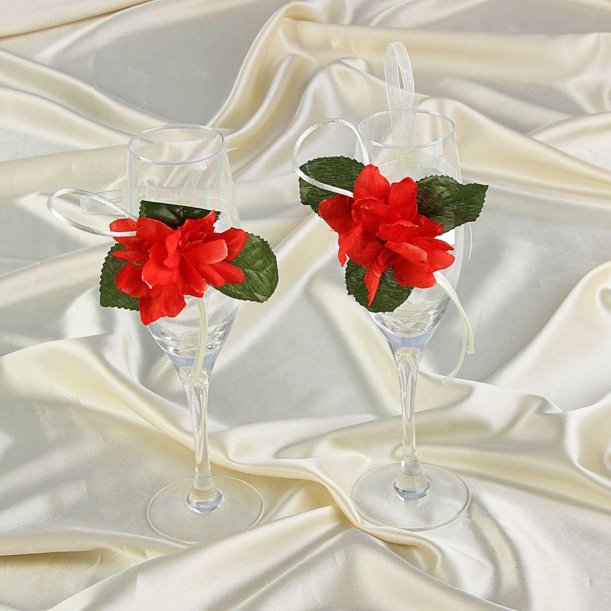 Sima-land Декор на бокалы Bokal-18, цвет: красный, 2 шт775587Декор на бокалы, набор 2 шт, - то, без чего не проходит ни одна церемония бракосочетания. Изысканный и утонченный аксессуар будет выигрышно смотреться в зале регистрации и за банкетным столом. Этот символ можно сохранить и на последующие годовщины свадьбы, украсив им бокал шампанского и вспоминая счастливый день.