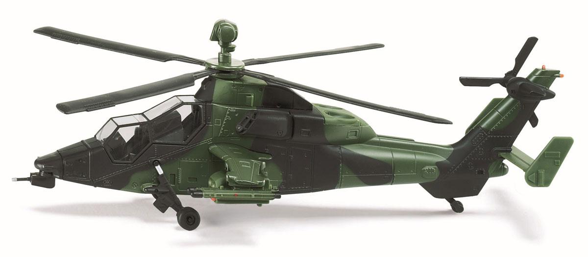 Siku Военный вертолет 49124912Военный вертолет Siku станет замечательным подарком для любителей техники всех возрастов. Игрушка представляет собой реалистичную копию военного вертолета в масштабе 1:50. Вертолет отличается высокой степенью детализации. Корпус модели выполнен из металла, детали изготовлены из ударопрочного пластика. Прорезиненные колеса имеют свободный ход. На подвесах размещены пусковые устройства для ракет, ракета выпускается кнопкой снизу. В комплекте 10 ракет и наклейки ВВС различных стран. Ваш ребенок часами будет играть с такой игрушкой, придумывая различные истории.