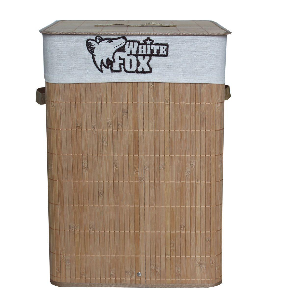 Корзина для белья White Fox Bamboo Standart, квадратнаяWBLA10-214Корзина для белья White Fox BAMBOO Standart предназначена для организации и хранения белья. Съемный чехол можно стирать в стиральной машине при деликатной стирке. Удобные ручки помогут перемещать корзину в любое удобное место. Состав: бамбук и текстиль. Размер корзины в собранном виде: 35 х 35 х 50 см.