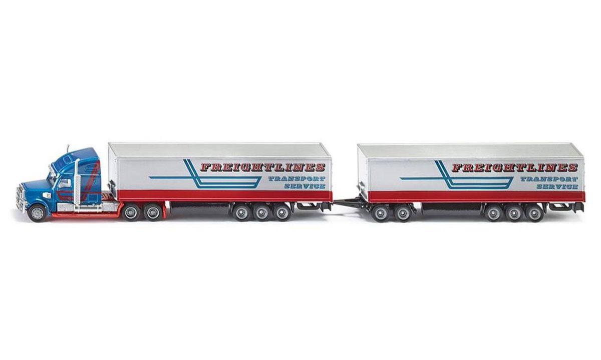 Siku Автопоезд Freightlines Transport Service1806Могучий автопоезд Siku Freightlines Transport Service выполнен в масштабе 1:87! Впечатляющая машина, украшенная внушительными хромированными деталями, обеспечивает плавную езду на любой поверхности. Такая модель понравится не только ребенку, но и взрослому коллекционеру, и приятно удивит вас высочайшим качеством исполнения. Корпус игрушки изготовлен из металла с пластиковыми элементами. Модель станет не только интересной игрушкой для ребенка, интересующегося различными видами транспорта, но и займет достойное место в любой коллекции.
