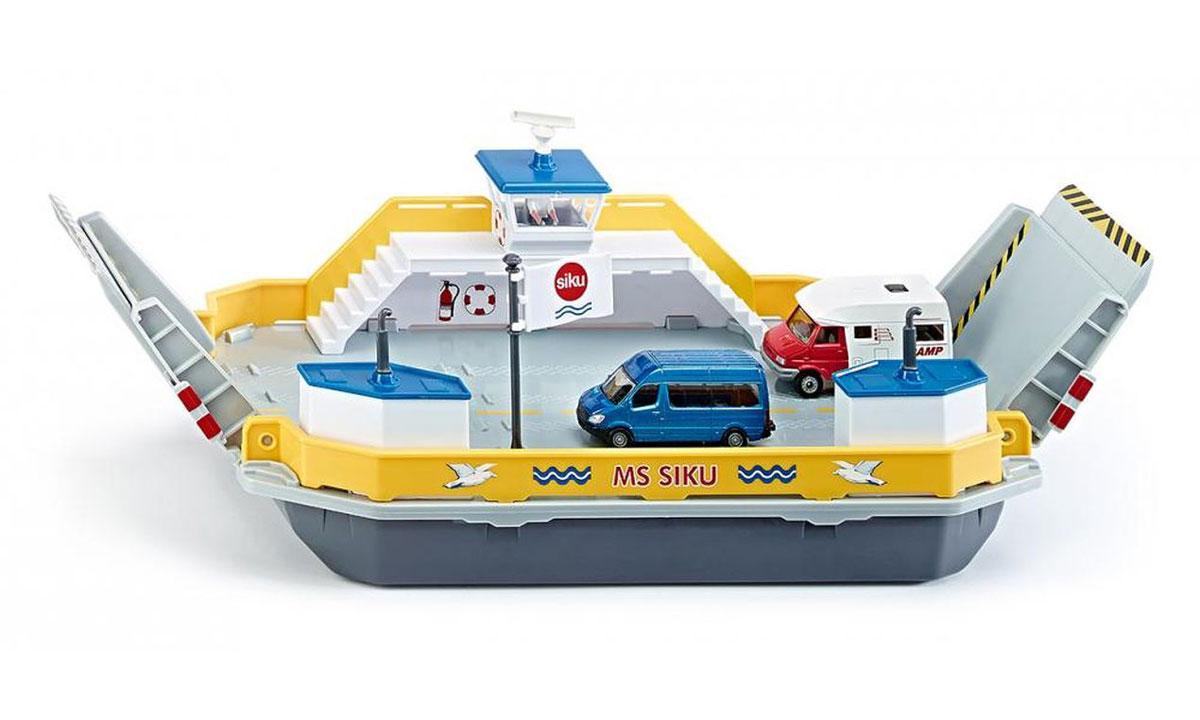 Siku Паром для машин1750Ранее автомобили останавливались на берегу реки, но теперь новый плавающий паром поможет преодолеть любые водные расстояния! Паром для машин Siku изготовлена из прочных и безопасных материалов. На паром можно грузить 6 легковых машин или 2 грузовика. Потяните вниз пандусы и плывите на другой берег! В набор входят 2 модели автомобилей, фигурка капитана и дополнительные аксессуары. Ваш ребенок увлеченно будет играть с такой игрушкой, придумывая различные истории!