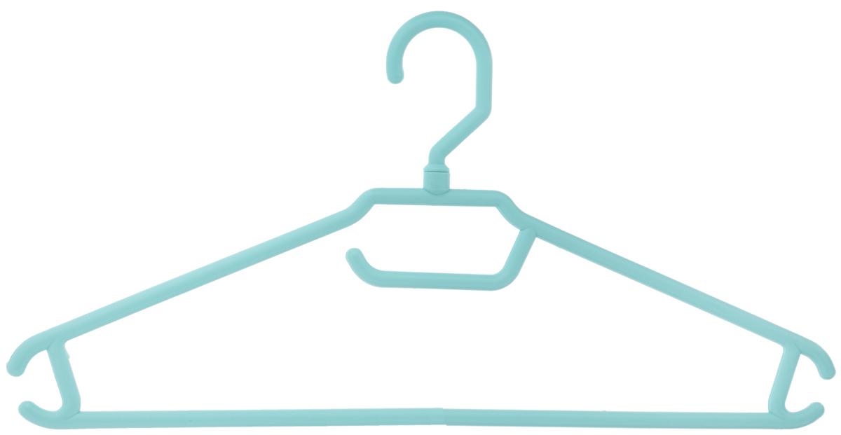 Вешалка для одежды BranQ, цвет: бирюзовый, размер 48-50BQ1892МИКСВешалка BranQ изготовлена из полипропилена. Изделие оснащено перекладиной и боковыми крючками. Вешалка - это незаменимая вещь для того, чтобы одежда всегда оставалась в хорошем состоянии и имела опрятный вид. Размер одежды: 48-50.
