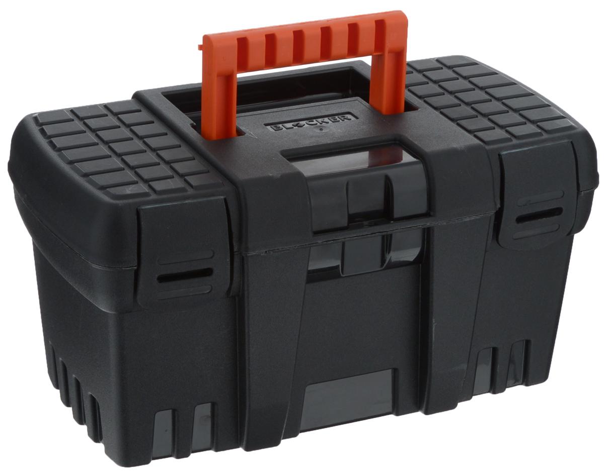 Ящик для инструментов Blocker Techniker, цвет: черный, оранжевый, 26,5 х 15,5 х 14 смBR3746ЧРЯщик Blocker Techniker изготовлен из прочного пластика и предназначен для хранения и переноски инструментов. Вместительный, внутри имеет большое главное отделение. Закрывается при помощи крепких защелок, которые не допускают случайного открывания. Для более комфортного переноса в руках на крышке ящика предусмотрена удобная ручка.