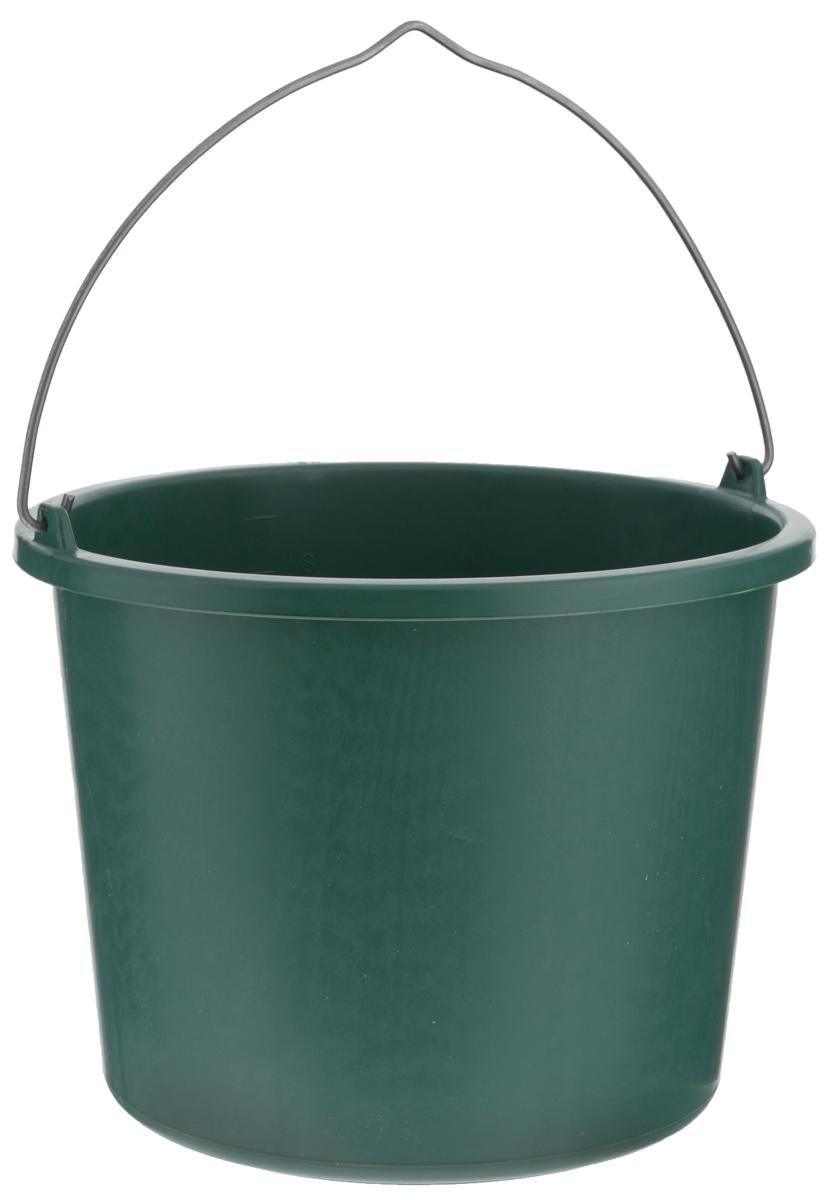 Ведро строительное Альтернатива, цвет: темно-зеленый, 10 лМ1125_темно-зеленыйКруглое ведро Альтернатива, изготовленное из высококачественного пластика, используется в строительных работах. Оно легче железного и не подвержено коррозии. Ведро оснащено металлической ручкой для удобной переноски. Диаметр ведра (по верхнему краю): 29 см. Высота: 23 см.