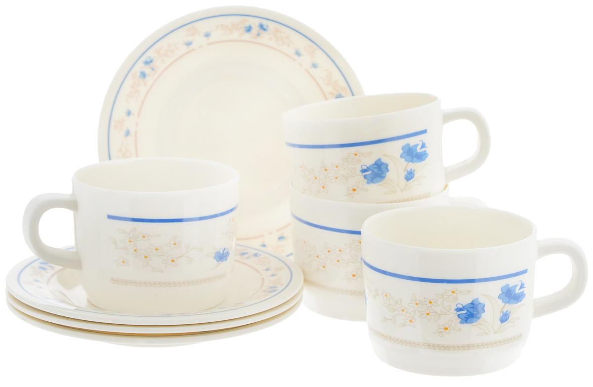 Набор чайный Calve Изящные цветы, 8 предметовCL-2508_белый,синие цветочкиЧайный набор Calve Изящные цветы состоит из 4 чашек и 4 блюдец, выполненных из высококачественного пластика. Изделия оформлены цветочным рисунком. Изящный набор эффектно украсит стол к чаепитию и порадует вас функциональностью и ярким дизайном. Можно мыть в посудомоечной машине. Диаметр блюдца: 14,5 см. Объем чашки: 240 мл. Диаметр чашки (по верхнему краю): 8 см. Высота чашки: 6,4 см.