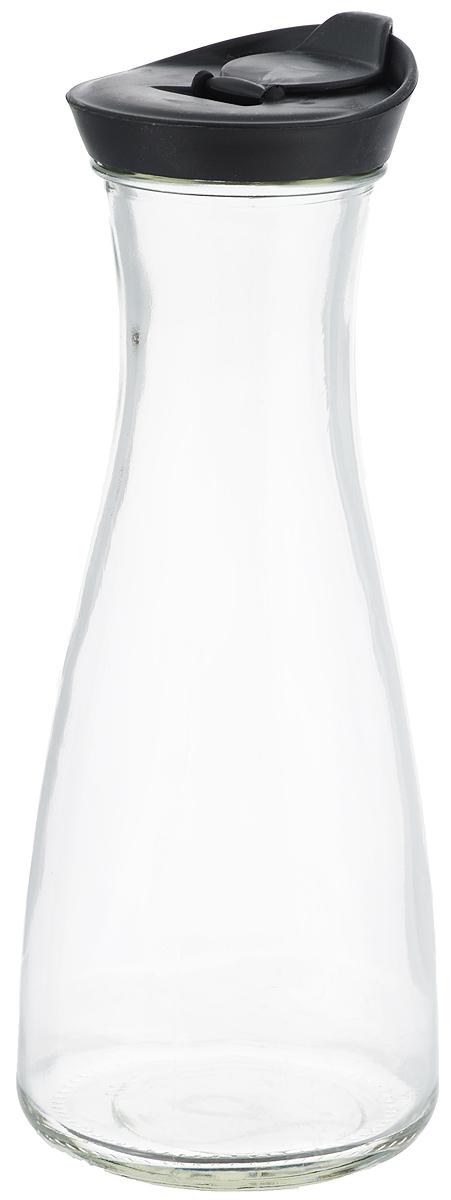 Бутылка для напитков Zeller, цвет: прозрачный, черный, 900 мл19705_прозрачный, черныйБутылка для напитков Zeller, изготовленная из прочного стекла, оснащена пластиковой крышкой с отверстием для жидкости. Это позволяет дозированно наливать содержимое. Изделие предназначено для воды, чая, фруктовых соков и других холодных напитков. Оригинальный дизайн и эргономичная форма превращают бутылку в стильный и функциональный аксессуар. Такая бутылка идеальна для ежедневного использования. Она украсит любой интерьер кухни и пригодится как дома, так и на даче. Диаметр бутылки (по верхнему краю): 6,2 см. Диаметр основания бутылки: 9,5 см. Высота бутылки (с учетом крышки): 26 см.