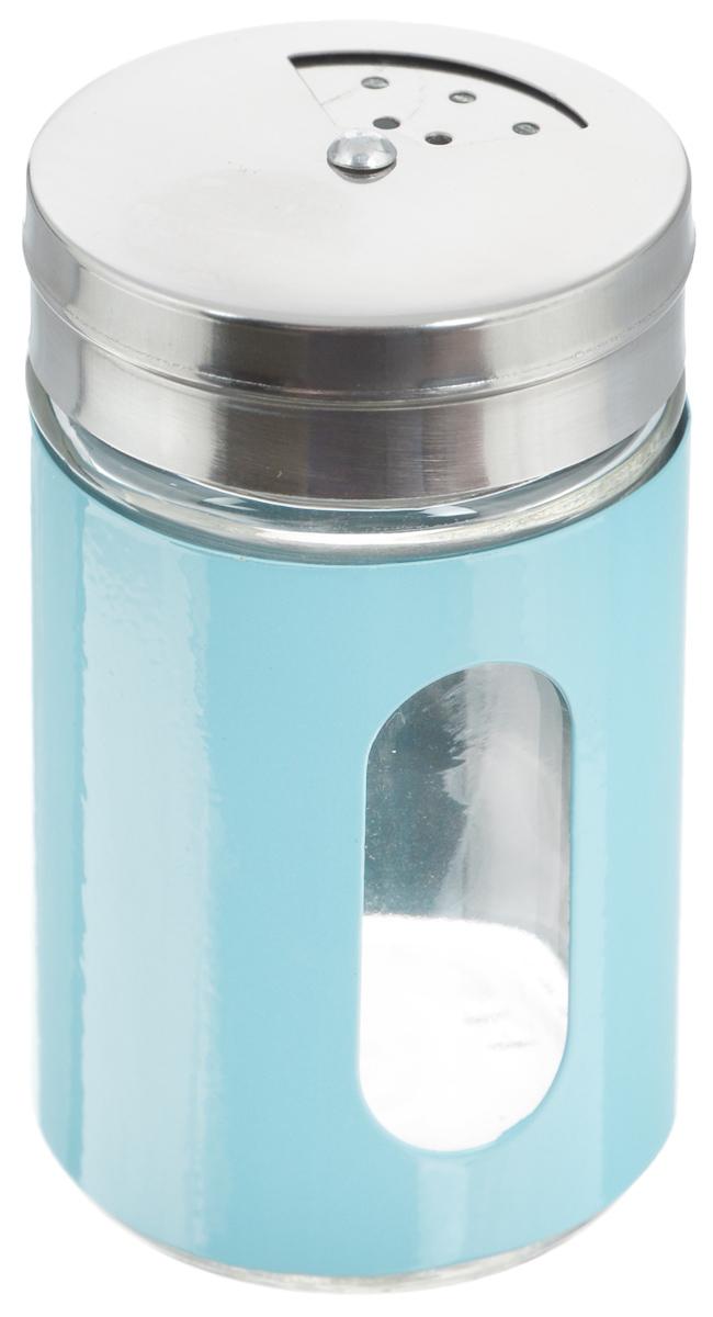 Емкость для специй Zeller, цвет: прозрачный, голубой, 100 мл19969Емкость Zeller, выполненная из антикоррозийной стали и прочного стекла, предназначена для разнообразных специй. Изделие снабжено плотно закрывающийся крышкой с поворотным механизмом, который позволяет выбрать отверстия нужные по диаметру. Емкость имеет прозрачное окошко. Благодаря антистатической поверхности содержимое емкости не прилипает к стеклянному окошку, поэтому вы всегда можете видеть, что и в каком количестве содержится внутри. Такая функциональная и вместительная емкость станет незаменимым аксессуаром на любой кухне. Диаметр (по верхнему краю): 6 см. Высота (без учета крышки): 10,5 см.