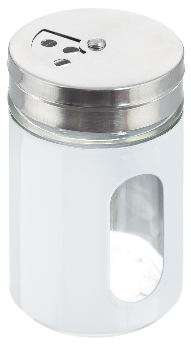 Емкость для специй Zeller, цвет: прозрачный, белый, 400 мл19794Емкость Zeller выполнена из антикоррозийной стали и стекла и предназначена для разнообразных специй. Изделие оснащено удобной плотно закрывающийся крышкой с отверстиями разной величины для высыпания. Поворотный механизм позволяет выбрать отверстия по диаметру. Емкость имеет прозрачное окошко, поэтому вы всегда можете видеть, что и в каком количестве содержится в банке. Благодаря антистатической поверхности содержимое контейнера не прилипает к стеклянному окошку. Такая функциональная и вместительная емкость станет незаменимым аксессуаром на любой кухне. Диаметр по верхнему краю: 6 см. Высота (без учета крышки): 10,5 см.