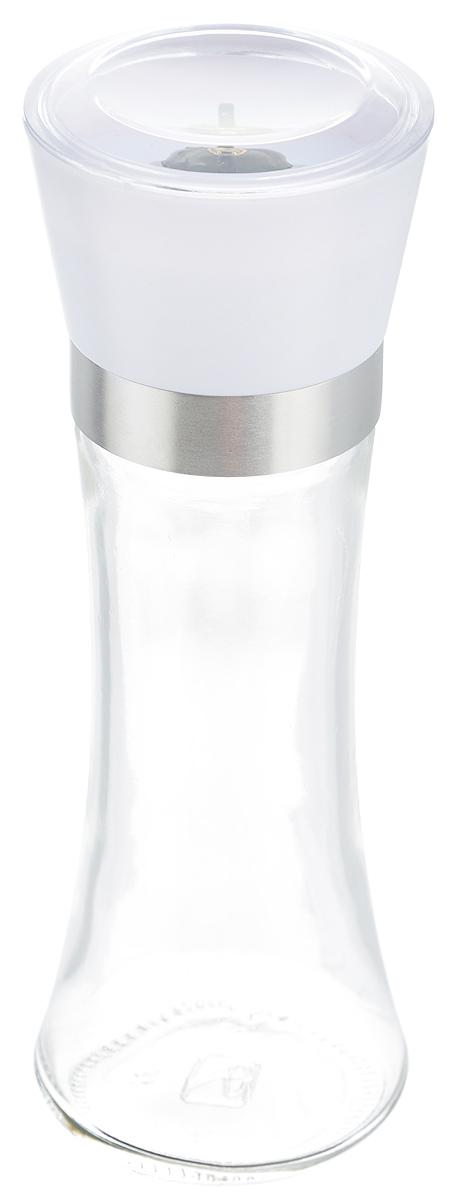 Мельница для специй Zeller, цвет: прозрачный, белый, высота 19,5 см19766_прозрачный, белыйМельница Zeller, изготовленная из высококачественных материалов - стекла, пластика и металла, удобна и легка в использовании. Изделие оснащено крышкой, благодаря которой сохраняется свежесть и аромат содержимого. Стоит только покрутить верхнюю часть мельницы, и вы с легкостью сможете приправить по своему вкусу любое блюдо. Мельница имеет керамический механизм помола и предназначена для измельчения перца, соли и других специй. Мельница Zeller не только поможет вам с приготовлением пищи, но и стильно украсит интерьер любой кухни. Высота мельницы: 19,5 см. Диаметр мельницы (по верхнему краю): 6,5 см.