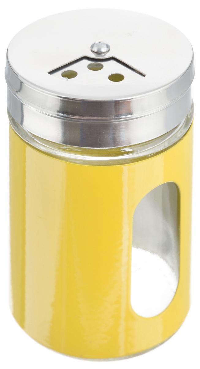 Емкость для специй Zeller, цвет: прозрачный, желтый, 100 мл19969_прозрачный, желтыйЕмкость Zeller, выполненная из антикоррозийной стали и прочного стекла, предназначена для разнообразных специй. Изделие снабжено плотно закрывающийся крышкой с поворотным механизмом, который позволяет выбрать отверстия нужные по диаметру. Емкость имеет прозрачное окошко. Благодаря антистатической поверхности содержимое емкости не прилипает к стеклянному окошку, поэтому вы всегда можете видеть, что и в каком количестве содержится внутри. Такая функциональная и вместительная емкость станет незаменимым аксессуаром на любой кухне. Диаметр (по верхнему краю): 6 см. Высота (без учета крышки): 10,5 см.
