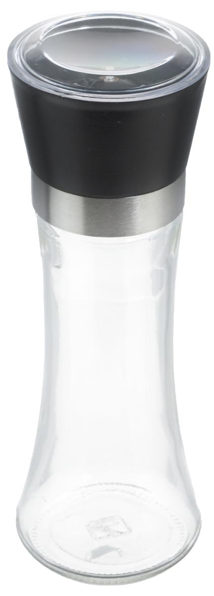 Мельница для специй Zeller, цвет: прозрачный, черный, высота 19,5 см19766Мельница Zeller, изготовленная из высококачественных материалов - стекла, пластика и металла, удобна и легка в использовании. Изделие оснащено крышкой, благодаря которой сохраняется свежесть и аромат содержимого. Стоит только покрутить верхнюю часть мельницы, и вы с легкостью сможете приправить по своему вкусу любое блюдо. Мельница имеет керамический механизм помола и предназначена для измельчения перца, соли и других специй. Мельница Zeller не только поможет вам с приготовлением пищи, но и стильно украсит интерьер любой кухни. Высота мельницы: 19,5 см. Диаметр мельницы (по верхнему краю): 6,5 см.