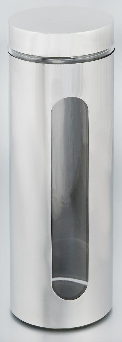 Банка для хранения Zeller, 1,5 л. 1994819948Банка Zeller, выполненная из антикоррозийной стали и прочного стекла, снабжена крышкой, которая плотно и герметично закрывается, дольше сохраняя аромат и свежесть содержимого. Изделие подходит для хранения сыпучих продуктов: круп, чая, специй, орехов, сахара и многого другого. Банка имеет прозрачное окошко. Благодаря антистатической поверхности продукты не прилипают к стеклянному окошку, поэтому вы всегда можете видеть, что и в каком количестве содержится внутри. Такая функциональная и вместительная банка станет незаменимым аксессуаром на любой кухне. Диаметр банки (по верхнему краю): 9 см. Высота банки (без учета крышки): 30,5 см.