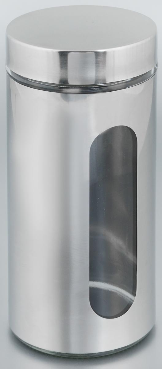 Банка для хранения Zeller, 1 л. 1994719947Банка Zeller, выполненная из антикоррозийной стали и прочного стекла, снабжена крышкой, которая плотно и герметично закрывается, дольше сохраняя аромат и свежесть содержимого. Изделие подходит для хранения сыпучих продуктов: круп, чая, специй, орехов, сахара и многого другого. Банка имеет прозрачное окошко. Благодаря антистатической поверхности продукты не прилипают к стеклянному окошку, поэтому вы всегда можете видеть, что и в каком количестве содержится внутри. Такая функциональная и вместительная банка станет незаменимым аксессуаром на любой кухне. Диаметр банки (по верхнему краю): 9 см. Высота банки (без учета крышки): 22,5 см.