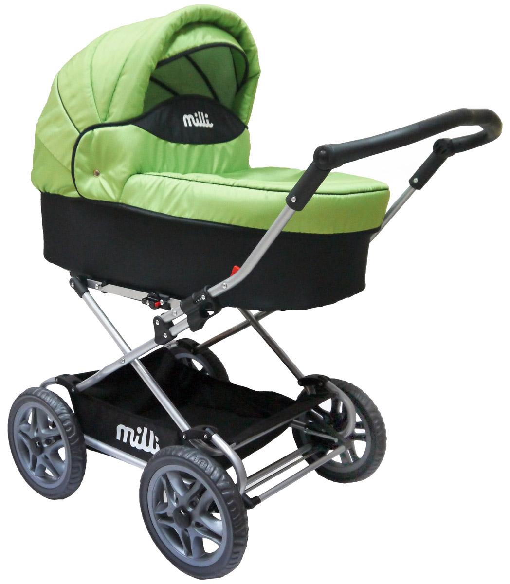 Milli Коляска-люлька JENIS цвет kiwi500121Классическая коляска люлька milli Jenis превратит любую прогулку с малышом в удовольствие! Это традиционная коляска для новорожденного, обеспечивающая превосходный комфорт. Имеет утепленную корзину, надежно защищающую малыша от непогоды. Большие легкие пластмассовые колеса обеспечат наибольшую проходимость коляски даже в непогоду, и маме не придется прилагать усилия, чтобы проехать по бездорожью. В тоже время мягкая система амортизации защитит малыша от тряски. с функцией качания, съемный внутренний чехол из хлопка, регулируемый по высоте капор, корзина для покупок, большие колеса. Характеристики: Вес коляски: 13,1 кг Размеры (Д/Ш/В): 118x58x114 см Размеры в сложенном виде, рама (Д/Ш/В): 74х58х25 см Люлька: (Д/Ш/В): 79х34х23 см. Диаметр колес: 31 см (12,5 дюймов).