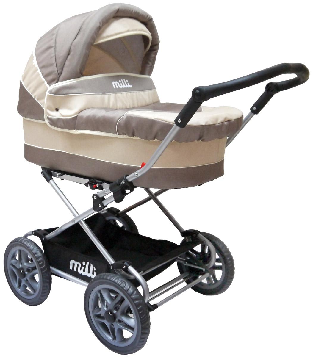 Milli Коляска-люлька JENIS цвет beige500124Классическая коляска люлька milli Jenis превратит любую прогулку с малышом в удовольствие! Это традиционная коляска для новорожденного, обеспечивающая превосходный комфорт. Имеет утепленную корзину, надежно защищающую малыша от непогоды. Большие легкие пластмассовые колеса обеспечат наибольшую проходимость коляски даже в непогоду, и маме не придется прилагать усилия, чтобы проехать по бездорожью. В тоже время мягкая система амортизации защитит малыша от тряски. с функцией качания, съемный внутренний чехол из хлопка, регулируемый по высоте капор, корзина для покупок, большие колеса Характеристики: Вес коляски: 13,1 кг Размеры (Д/Ш/В): 118x58x114 см Размеры в сложенном виде, рама (Д/Ш/В): 74х58х25 см Люлька: (Д/Ш/В): 79х34х23 см. Диаметр колес: 31 см (12,5 дюймов).