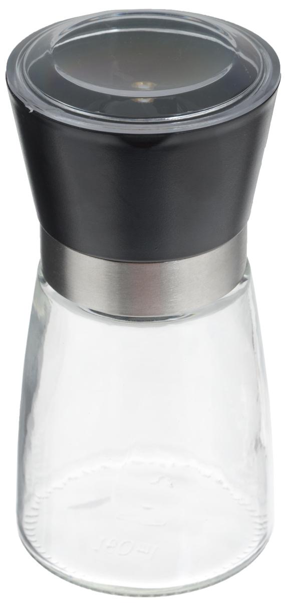 Мельница для специй Zeller, цвет: прозрачный, черный, высота 13,5 см19765Мельница Zeller, изготовленная из стекла и пластика, легка в использовании. Необходимо насыпать специи внутрь емкости, достаточно только покрутить механизм, и вы с легкостью сможете поперчить или посолить по своему вкусу любое блюдо. Крышка сохраняет аромат специй. Механизм мельницы изготовлен из керамики. Оригинальная мельница станет достойным дополнением ваших кухонных аксессуаров. Высота мельницы: 13,5 см. Диаметр мельницы: 6,5 см.