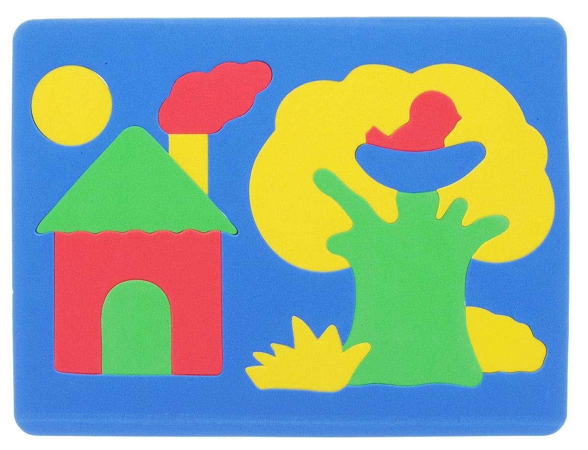 Фантазер Пазл для малышей Дом и дерево цвет основы синий063551Д_синийМягкая мозаика Фантазер Домик выполнена из мягкого полимера, который дает юному конструктору новые удивительные возможности в игре: детали мозаики гнутся, но не ломаются, их всегда можно состыковать. Мозаика представляет собой рамку, в которой из отдельных элементов собирается домик, дерево с птичкой в гнезде, солнышко. Ваш ребенок сможет собрать мозаику и в ванной. Элементы мозаики можно намочить, благодаря чему они будут хорошо прилипать к стене в ванной комнате. Такая мозаика развивает пространственное мышление, глазомер, знакомит с формами и цветом предмета в процессе игры.