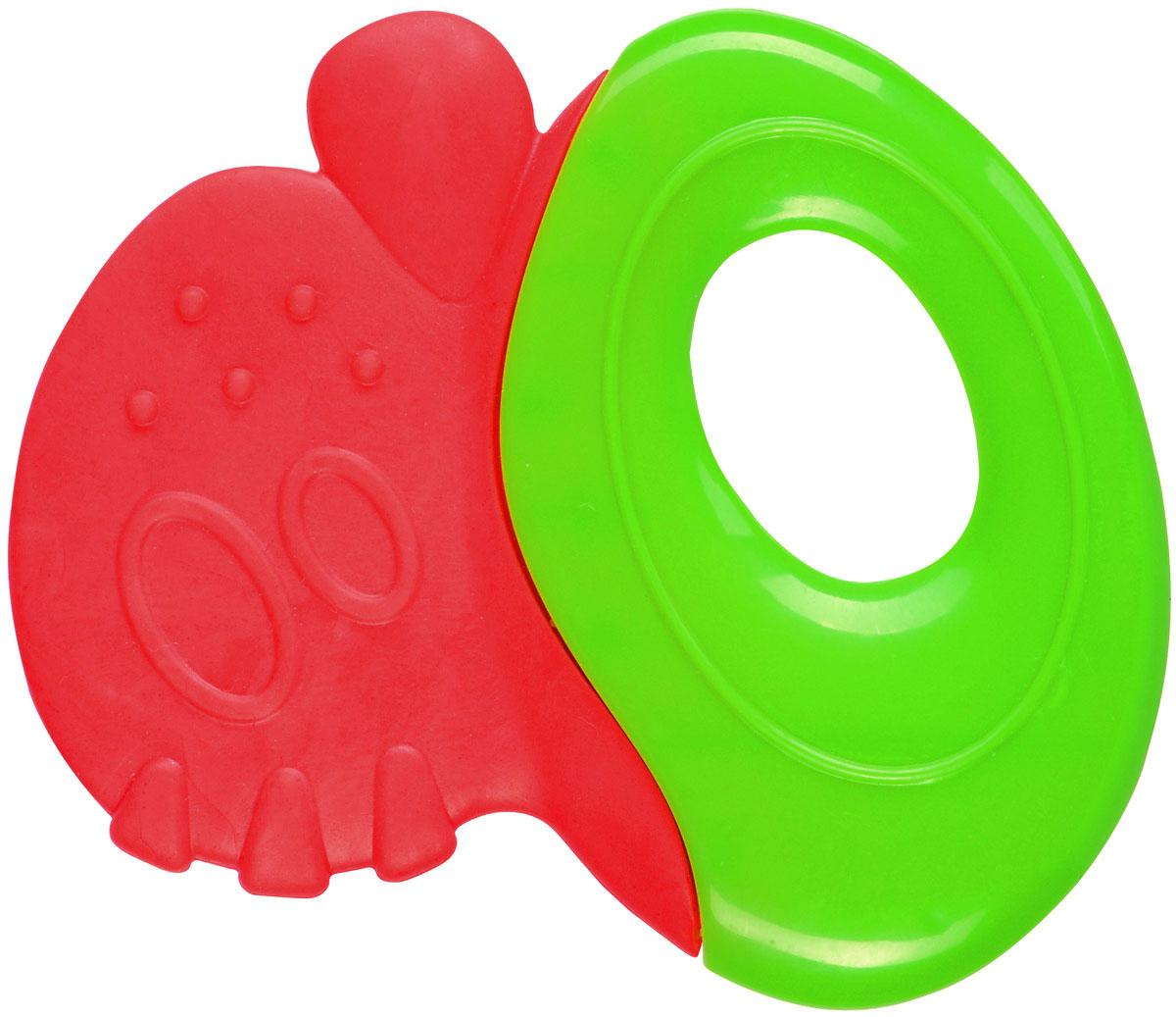 BabyOno Прорезыватель-погремушка цвет красный зеленый1383Прорезыватель-погремушка BabyOno - незаменимый аксессуар при прорезывании зубов. Прорезыватель имеет возможность охлаждения в холодильнике. Эластичный материал с волнистой структурой идеально массирует десны ребенка, а разнородная поверхность развивает чувство осязания. Прорезыватель также обладает функцией погремушки. Погремушка учит различать силу звука. Прорезыватель-погремушка BabyOno очень легкий, соответствует по размеру маленьким ручкам и рту ребенка. Изготовлен из прочных и безопасных материалов. Не содержит бисфенол А. Товар сертифицирован.