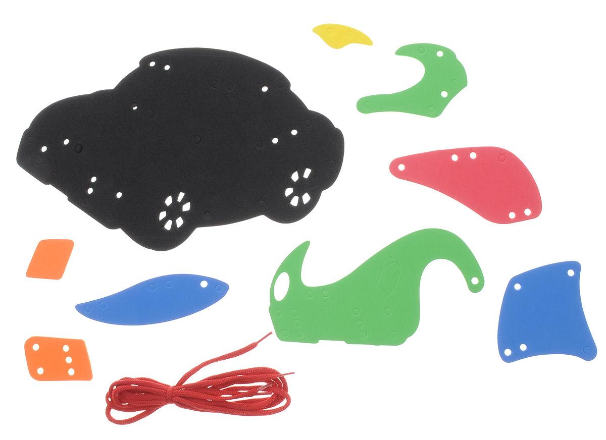 Фантазер Игра-шнуровка Машина цвет черный мультиколор103012_черный, мультиколорС мягким конструктором-шнуровкой Фантазер Машина ваш малыш будет часами занят игрой. Набор включает 9 фигур разных форм, шнурок. Все элементы выполнены из мягкого, травмобезопасного и экологичного полимерного материала. Особый материал дает новые удивительные возможности в игре: гнется, но не ломается, детали всегда можно состыковывать. Игры из серии Шнуровка развивают воображение и пространственное мышление. Безопасен для всех - по нему можно даже ходить босиком и брать с собой в ванну.