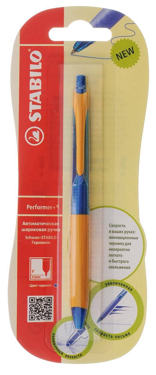 Stabilo Ручка шариковая автоматическая Performer + цвет чернил синий цвет корпуса синий оранжевый