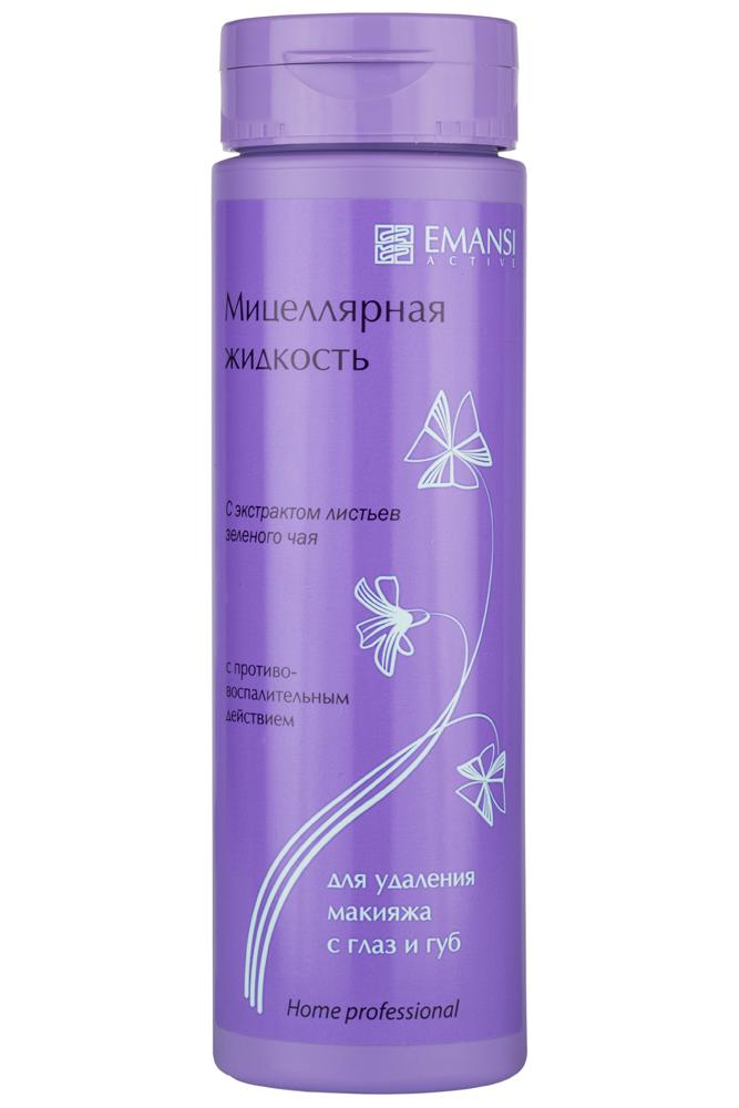 Emansi Мицеллярная жидкость с экстрактом листьев зеленого чая для удаления макияжа c глаз и губ с противовоспалительным действием Emansi active, 150 мл