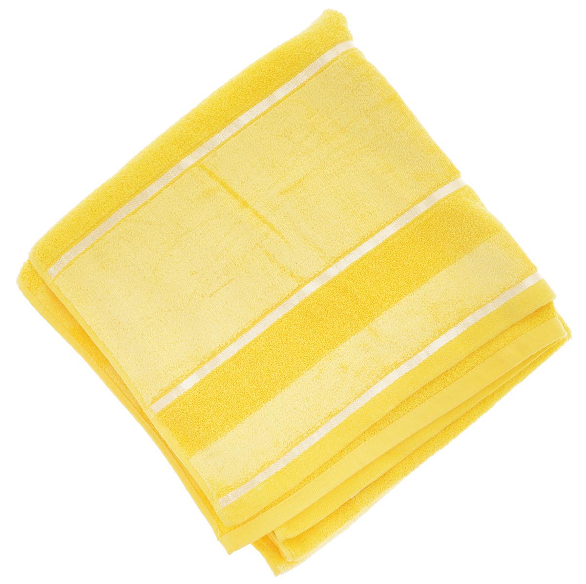 Полотенце Soavita Louise, цвет: желтый, 70 х 140 см64035Полотенце Soavita Louise выполнено из 100% хлопка. Все детали качественно прошиты, ткань очень плотная, не линяет и держится много лет. Изделие отлично впитывает влагу, быстро сохнет, сохраняет яркость цвета и не теряет форму даже после многократных стирок. Полотенце очень практично и неприхотливо в уходе. Оно создаст прекрасное настроение и украсит интерьер в ванной комнате.