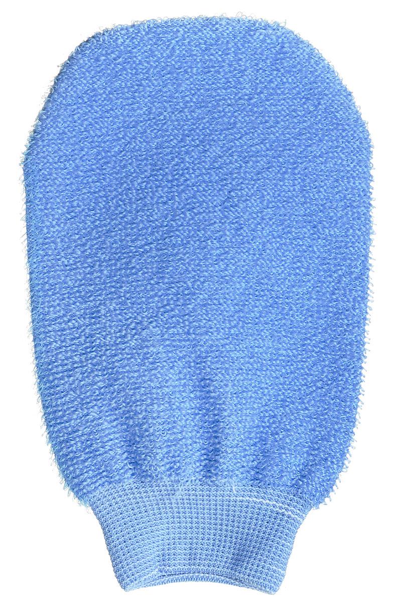 Riffi Мочалка-рукавица массажная, двухсторонняя, цвет: голубой. 700707_голубойRiffi Мочалка-рукавица массажная, двухсторонняя, цвет: голубой