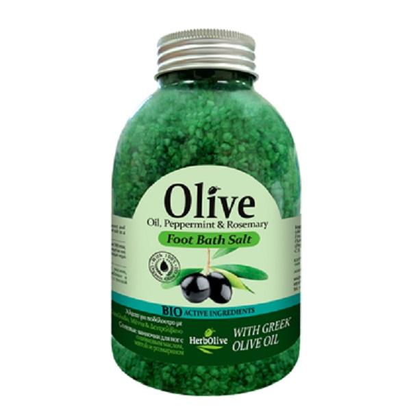 HerbOlive Соль для ванн, 500 г5200310401947Соль для уставших ног с органическим оливковым маслом, экстрактами мяты и розмарина. Ванночки с солью снимают напряжение, расслабляют и освежает уставшие ноги. Косметика произведена в Греции на основе органического сырья, НЕ СОДЕРЖИТ минеральные масла, вазелин, пропиленгликоль, парабены, генетически модифицированные продукты (ГМО)