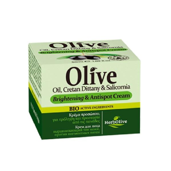 HerbOlive Крем для лица, выравнивающий тон кожи, против пигментных пятен 50 мл5200310404986Рекомендуется применять с 20 лет. Крем легко впитывается, подходит для всех типов кожи. Сочетание таких компонентов, как масло ши, масло арганы и оливы, экстракт алоэ, аллантоин и пантенол направлено на синтез коллагена и эластина, повышают упругость и эластичность, улучшают тургор кожи, разглаживают морщины, улучшают цвет лица. Витамин Е безопасно защищает клетки кожи от УФ излучения. Органический экстракт алоэ увлажняет, успокаивает, повышает местный иммунитет на коже. Аллантоин эффективно предотвращает закупорку пор, образование комедонов и воспалителений. Саликорния морская является основным компонентом, который выравнивает тон кожи. Водоросль наполняет кожу морскими микроэлементами и витаминами. Косметика произведена в Греции на основе органического сырья, НЕ СОДЕРЖИТ минеральные масла, вазелин, пропиленгликоль, парабены, генетически модифицированные продукты (ГМО)