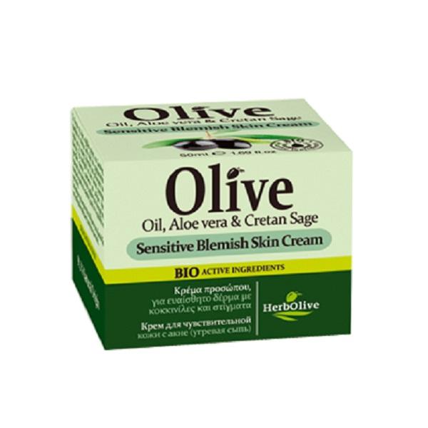 HerbOlive Крем для лица для чувствительной и проблемной кожи (акне, угревая сыпь) 50 мл5200310404993Крем рекомендуется применять с 16 лет для жирной кожи и кожи, склонной к воспалениям. Подходит для использования, как в дневное, так и в ночное время, матирует кожу, хорошо впитывается, обладает себорегулирующим эффектом. Пантенол и никатинамид снимает воспаления, помогает ранозаживлению. Благодаря такому сочетанию крем помогает бороться с угревой сыпью и застойными пятнами, остающиеся после акне. Масло ши, оливы, арганы питают кожу. Экстракты алоэ, розмарина, шалфея, лакрицы успокивает, дизенфицирует, увлажняет. Косметика произведена в Греции на основе органического сырья, НЕ СОДЕРЖИТ минеральные масла, вазелин, пропиленгликоль, парабены, генетически модифицированные продукты (ГМО)