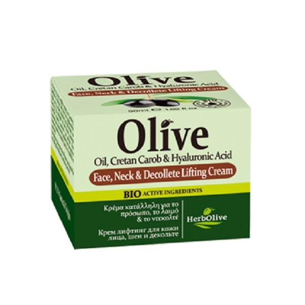 HerbOlive Лифтинг-крем для лица, шеи и зоны декольте 50 мл5200310405006Крем с лифтинг эффектом для лица, шеи и декольте. Содержит натуральные ценные компоненты: масла оливы, карите, арганы, миндаля, розмарин, экстракт рожкового дерева, гиалуроновую кислоту, которые увлажняют кожу, питают витаминами и микроэлементами. Крем выравнивает тон кожи, заботится о чувствительной коже декольте, защищает от старения. Рекомендуется с 20 лет. Легкая текстура крема подходит для всех типов кожи. Косметика произведена в Греции на основе органического сырья, НЕ СОДЕРЖИТ минеральные масла, вазелин, пропиленгликоль, парабены, генетически модифицированные продукты (ГМО)