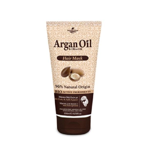 ArganOil Маска для волос с маслом арганы 200 мл5200310405242Маска для волос обогащена органическими маслами арганы и оливы, что создает уникальное сочетание компонентов, которые помогают защитить волосы, оживить цвет и блеск, придать им здоровый вид и объем. Нанесите на влажные чистые волосы, оставьте на 5-10 минут и хорошо смойте водой. Подходит для частого использования. Косметика произведена в Греции на основе органического сырья, НЕ СОДЕРЖИТ минеральные масла, вазелин, пропиленгликоль, парабены, генетически модифицированные продукты (ГМО)