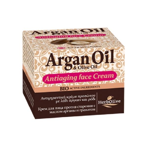 ArganOil Антивозрастной крем для лица с маслом арганы и экстрактом граната 50 мл5200310405259Крем для лица с маслом арганы и экстрактом граната. Рекомендуется с 35 лет. Подходит для сухой и нормальной кожи. Сочетание экстракта витекса, витамина С, экстракт граната, масла карите и сладкого миндаля оказывает противовоспалительное тонизирующее средство, прекрасно для увядающей кожи, уставшей кожи, повышает эластичность. А в сочетании с маслом оливы, где содержатся вит А, Е, Д, этот крем приобретает мощнейшие антиоксидантные свойства. Снижает хрупкость капилляров. Косметика произведена в Греции на основе органического сырья, НЕ СОДЕРЖИТ минеральные масла, вазелин, пропиленгликоль, парабены, генетически модифицированные продукты (ГМО)