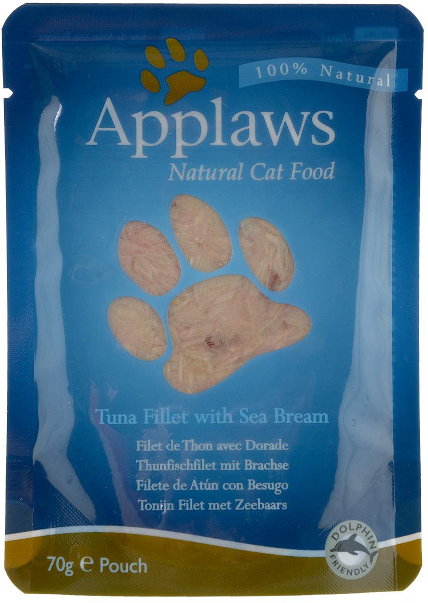 Консервы для кошек Applaws, с тунцом и морским окунем, 70 г24363Консервы Applaws изготовлены из нежнейшего филе тунца в собственном бульоне с лакомыми добавками из морского окуня. В состав корма входят только натуральные продукты, питательные и минеральные вещества, белки, и ничего лишнего. Не содержит ГМО, синтетических добавок, усилителей вкуса и красителей. Консервы Applaws - это настоящее удовольствие для кошек. br> Состав: Филе тунца 70%, рыбный бульон 24%, филе морского окуня 5%, коричневый рис 1%. Гарантированный анализ: белок 21%, жиры 0,3%, зола 1%, клетчатка 0,1%, влага 76%. Товар сертифицирован.