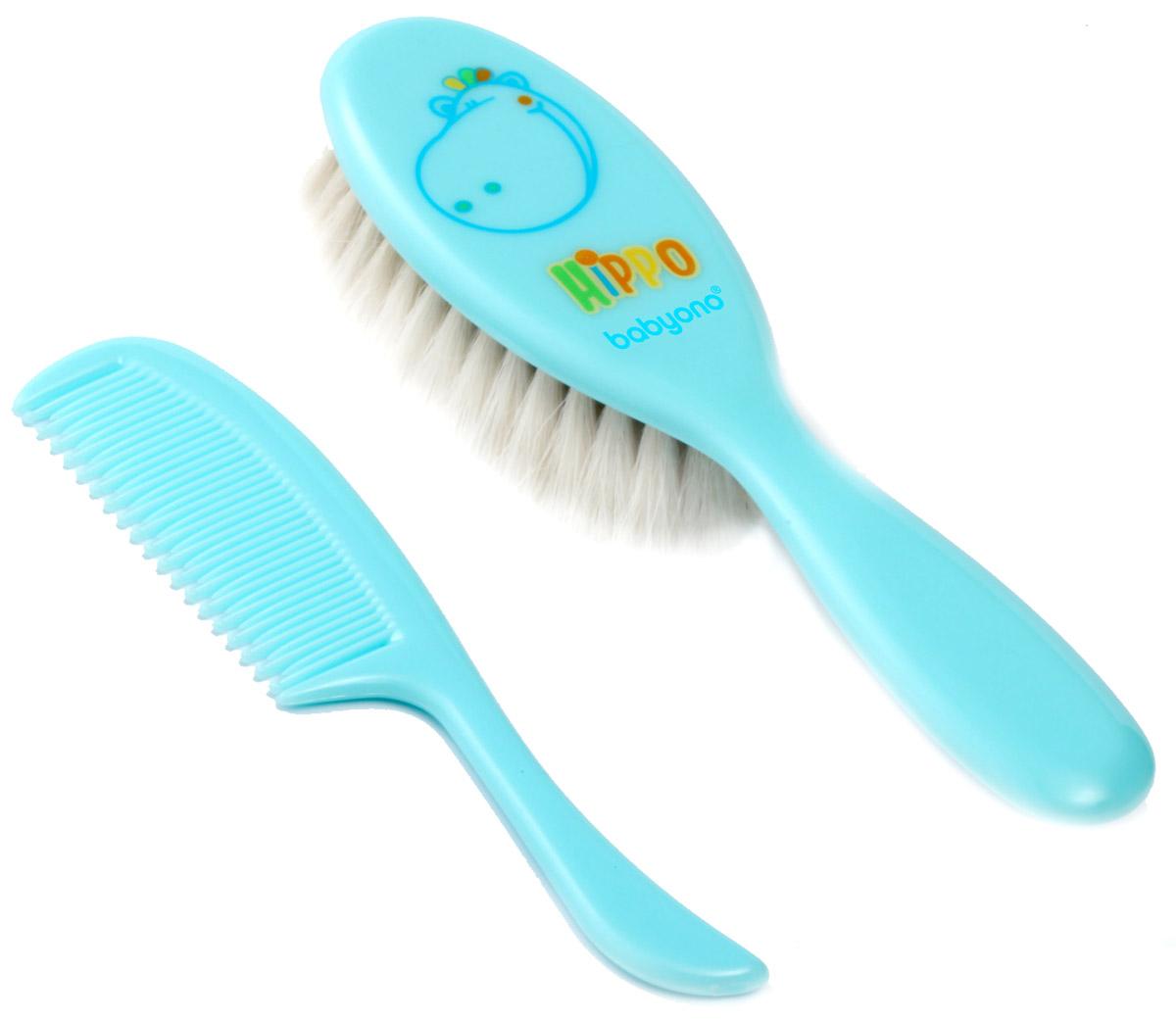 BabyOno BabyOno Набор детский Бегемот Расческа и щетка для волос цвет голубой 564 564_бегемот, голубой