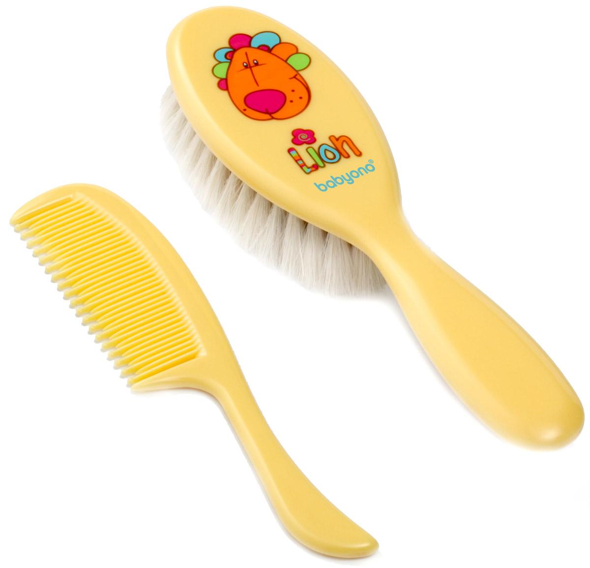 BabyOno Набор детский Лев Расческа и щетка для волос цвет желтый