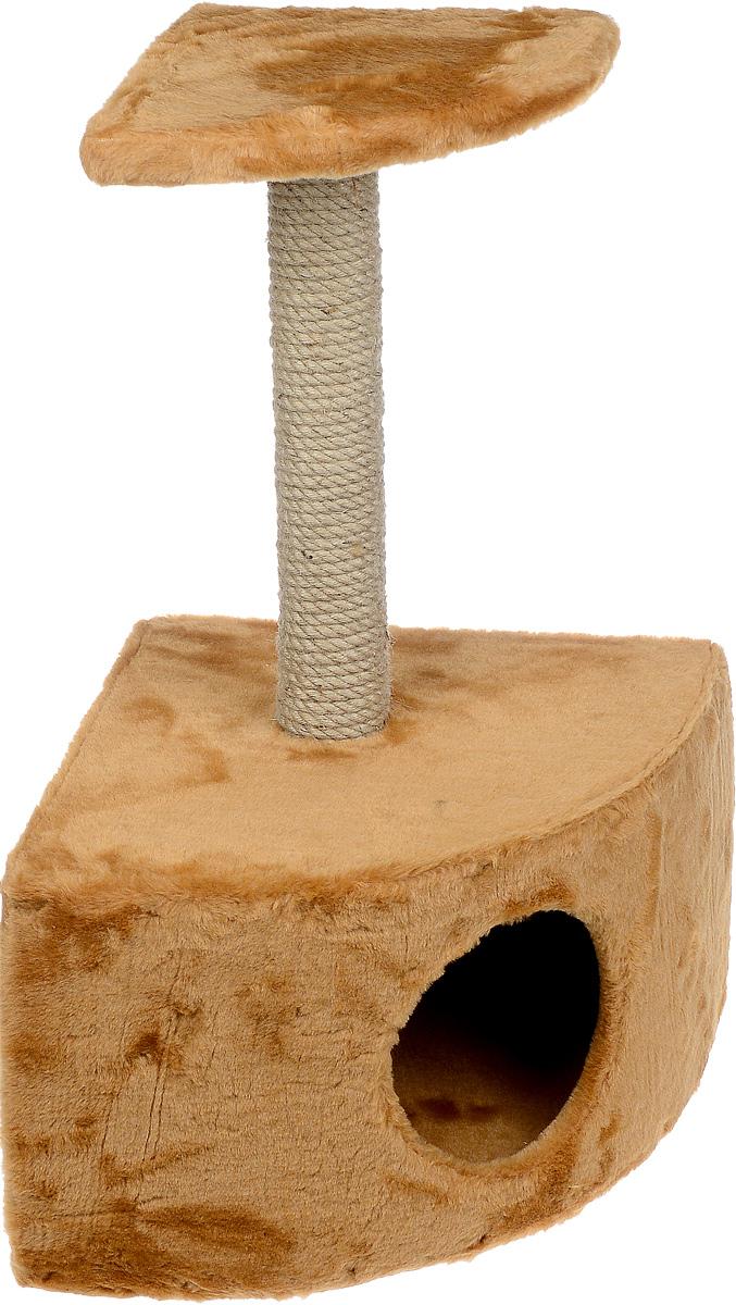 Домик-когтеточка ЗооМарк, угловой, с полкой, цвет: светло-коричневый, бежевый, 37 х 37 х 68 см111_мех_светло-коричневыйУгловой домик-когтеточка ЗооМарк выполнен из высококачественного дерева и искусственного меха. Изделие предназначено для кошек. Ваш домашний питомец будет с удовольствием точить когти о специальный столбик, изготовленный из джута. А отдохнуть он сможет либо на площадке, находящейся наверху столбика, либо в расположенном внизу домике. Общий размер: 37 х 37 х 68 см. Размер домика: 37 х 37 х 26 см. Размер полки: 25 х 25 см.
