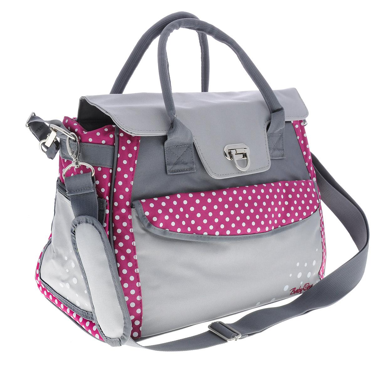 BabyOno Сумка для мамы Style цвет серый темно-розовый 1420/01