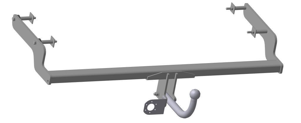 Фаркоп Bosal для Renault Fluence 2011/01->..., горизонтальная/вертикальная нагрузка на шар 1200/75 (без электрики, вырез в бампере), 1428-A