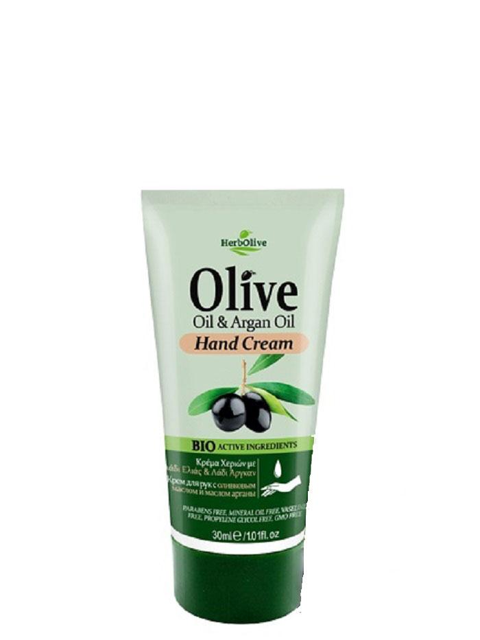 HerbOlive Мини крем для рук с маслом арганы 30 мл5200310402623Крем для рук с маслом арганы, на основе органического масла оливы идеально подходит для ежедневного использования. Легко впитывается увлажняет и смягчает кожу рук, защищает от сухости, раздражений, трещин и ежедневного воздействия внешней агрессивной среды. Увлажняет руки, делая их мягкими и гладкими. Косметика произведена в Греции на основе органического сырья, НЕ СОДЕРЖИТ минеральные масла, вазелин, пропиленгликоль, парабены, генетически модифицированные продукты (ГМО)