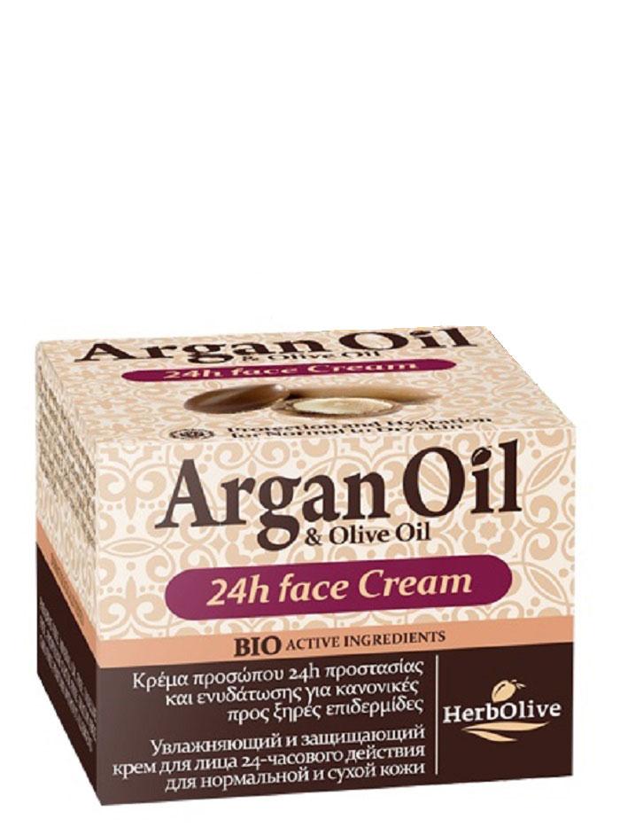 ArganOil Крем для лица уход 24ч для нормальной и сухой кожи 50 мл5200310402753Крем для ухода за лицом в течение 24 часов. Рекомендуется использовать для нормальной и сухой кожи с 20 лет. Крем содержит солнцезащитный фильтр, который оберегает кожу от вредного солнечного излучения, являющегося одной из причин старения кожи. Масло арганы, масло сладкого миндаля, витамин Е, пантенол, органическое оливковое масло, глубоко увлажняют кожу, питают защищают от внешних неблагоприятных воздействий. Обладает отбеливающим действием, выравнивая тон кожи. Косметика произведена в Греции на основе органического сырья, НЕ СОДЕРЖИТ минеральные масла, вазелин, пропиленгликоль, парабены, генетически модифицированные продукты (ГМО)